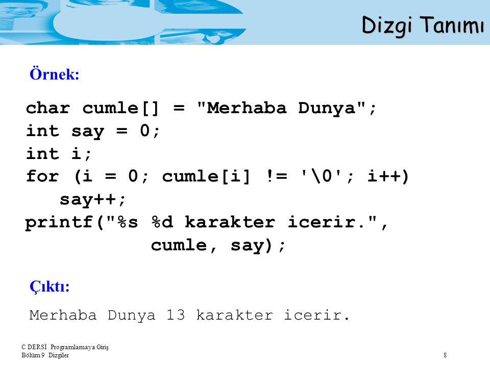 Dizgi Tanımı char cumle[] = Merhaba Dunya ; int say = 0; int i;